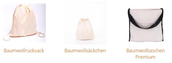 Baumwollbeutel / Baumwollrucksäcke