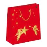 Tragetasche mit Heißprägedruck, Glanzlamination und Baumwollkordel 190 + 80 x 210 mm 120 g/qm  Motiv Engel im Sternenhimmel  100 Stück