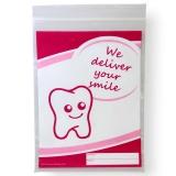 Dentalbeutel weiß eingefärbt We deliver your smile  pink  LDPE 50 my 180 x 250 + 230 mm  1000 Stück