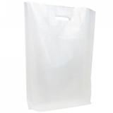 LDPE DKT Tragetaschen weiß 380 x 460 + 40/40 mm  60 my   500 Stück
