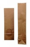 Blockbodenbeutel Natron-Natur mit Sichtfenster aus OPP-Folie  80 + 50 x 250 mm  Sichtfenster: 50x60mm 1000 Stück