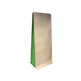 Boxpouches Flachbodenbeutel Kraftpapier Braun / Grün für verschiedene Füllmengen  1000 Stück